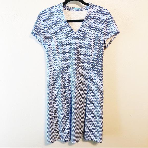 J McLaughlin blue white polo style dress spandex M